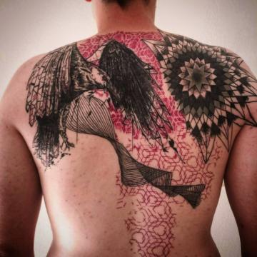Raven sketch tattoo geometric