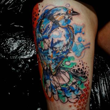 watercolor sketch bird tattoo