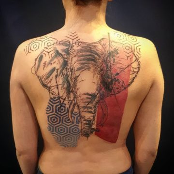 avant garde elephant back tattoo