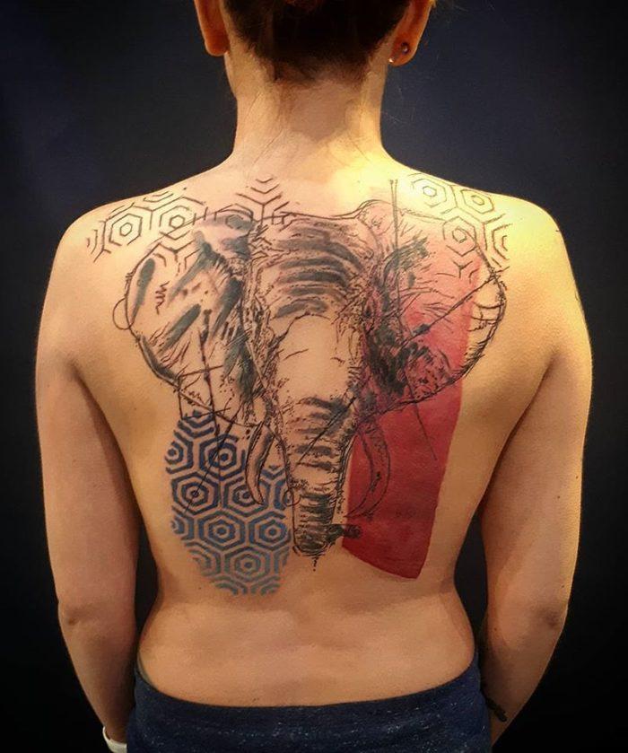 avant garde elephant back tattoo