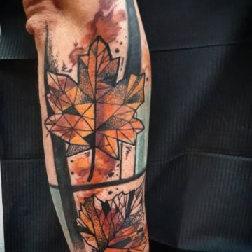 watercolor avant-garde leaf tattoo