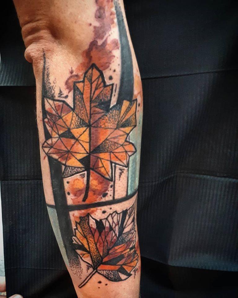 watercolor avant-garde leaf tattoo