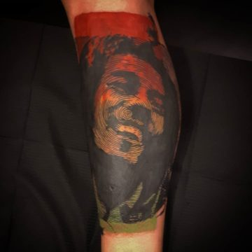 bob marley graphic art tattoo